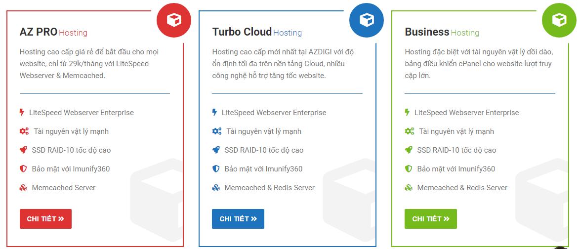 Hiện đang có 3 gói hosting mà AZDIGI cung cấp