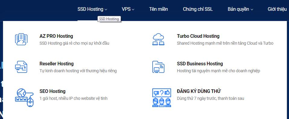 Các loại hosting đang cung cấp