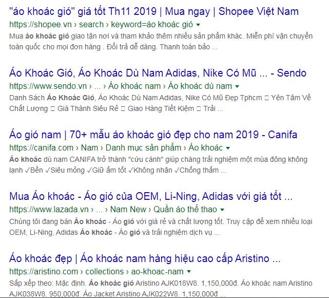 Các đối thủ tìm trên google
