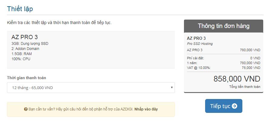 Thanh toán mua hosting