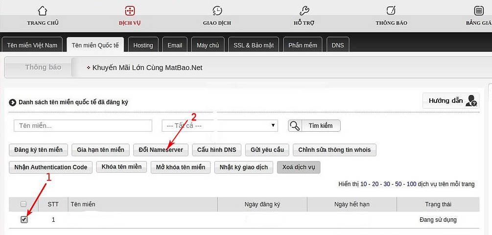 Đăng nhập và chọn domain cần trỏ về Host