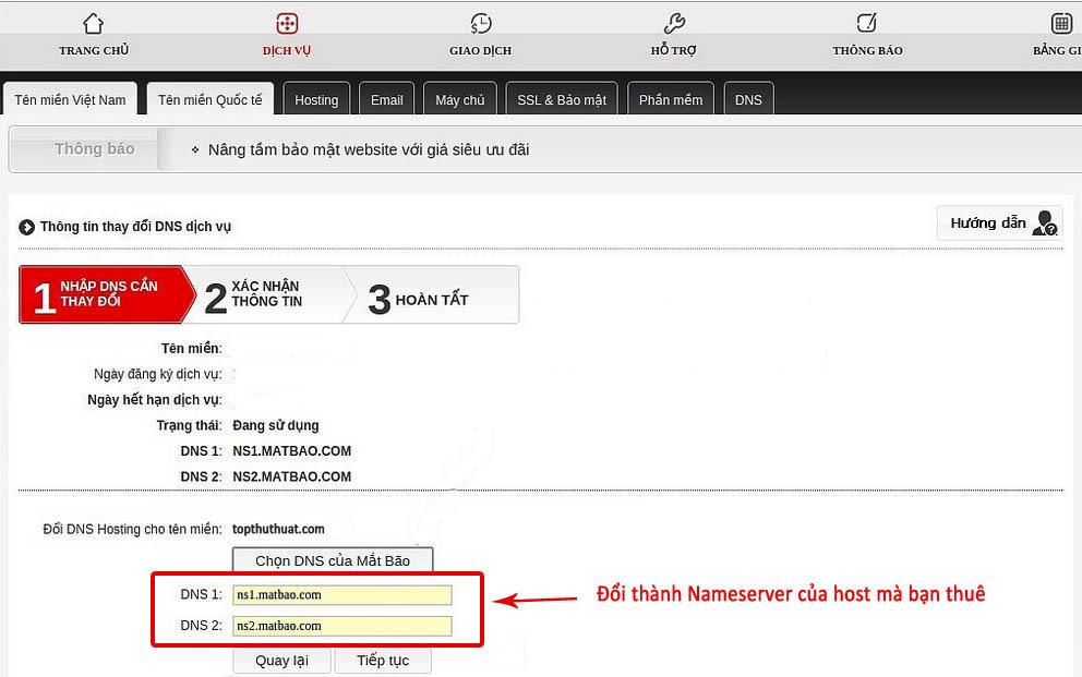 Nameserver mặc định của nhà cung cấp domain
